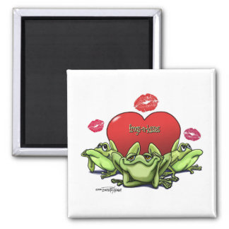 Frogs & Kisses - Valentine Square Magnet