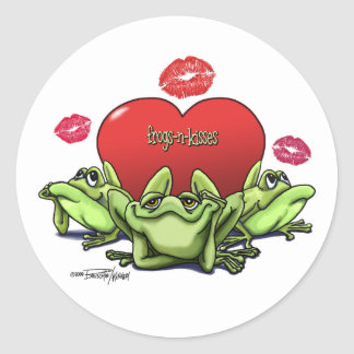 Frogs & Kisses - Valentine Classic Round Sticker