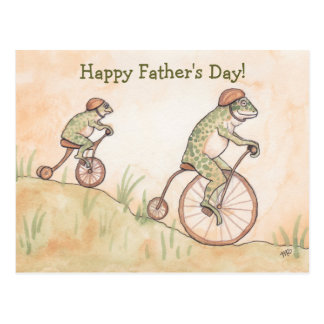 Frogs on Bicycles Father's Day Postcard