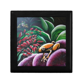 Frogs on Garden Leaves Small Square Gift Box