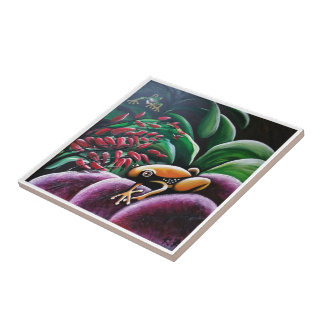 Frogs on Garden Leaves Small Square Tile