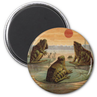 Frogs on Lily pads Vintage Fridge Magnets