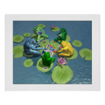 Frogs Playing Poker Poster
