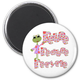 Frogs Reuse Reduce Recycle 6 Cm Round Magnet