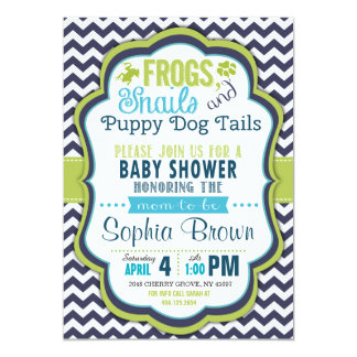 Frogs, Snails & Puppy Dog Tails Baby Shower Invite