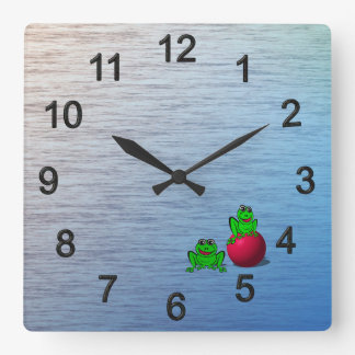 Frogs Square Wall Clock