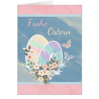 Frohe Ostern - German - Watercolour Easter Eggs Greeting Card