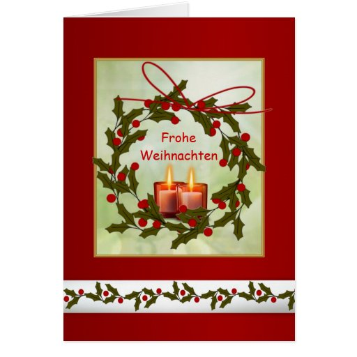 Frohe Weihnachten German Christmas - Holly, candle Cards