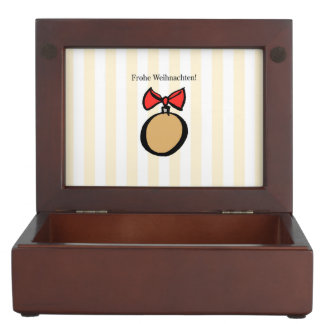 Frohe Weihnachten Gold Ornament Keepsake Box Yello