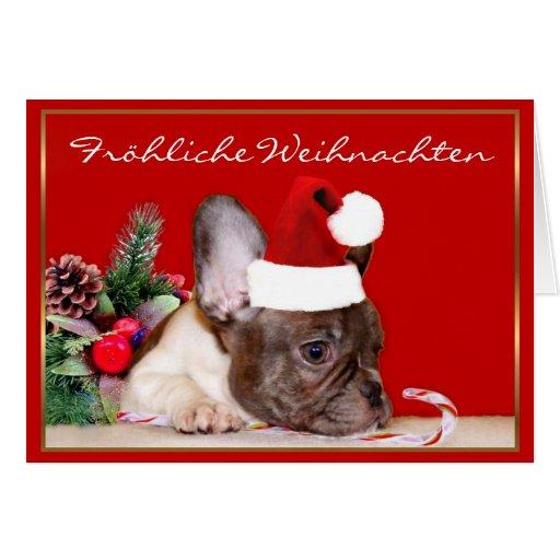 fr hliche weihnachten french bulldog greeting card zazzle. Black Bedroom Furniture Sets. Home Design Ideas