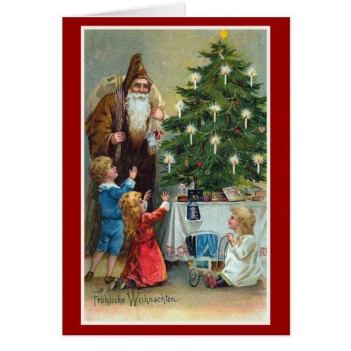 frohliche weihnachten vintage christmas greeting card. Black Bedroom Furniture Sets. Home Design Ideas