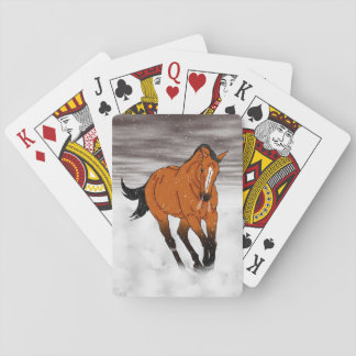 Frolicking Buckskin Horse in Snow Playing Cards