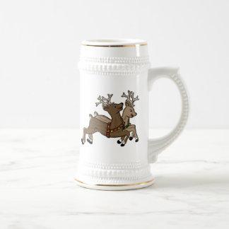 Frolicking Christmas Reindeer Coffee Mugs