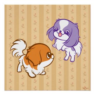 Frolicking Kawaii Puppies Japanese Chin