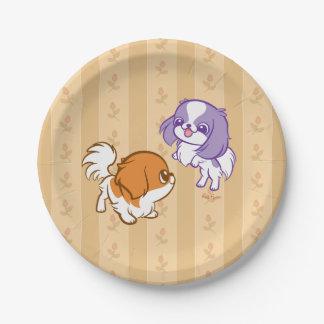 Frolicking Kawaii Puppies Japanese Chin 7 Inch Paper Plate