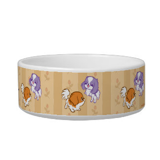 Frolicking Kawaii Puppies Japanese Chin Cat Food Bowl