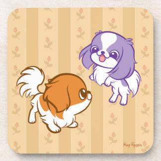 Frolicking Kawaii Puppies Japanese Chin Drink Coaster