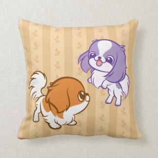 Frolicking Kawaii Puppies Japanese Chin Throw Pillow
