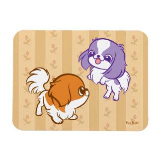 Frolicking Kawaii Puppies Japanese Chin Flexible Magnets