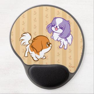 Frolicking Kawaii Puppies Japanese Chin Gel Mouse Pad