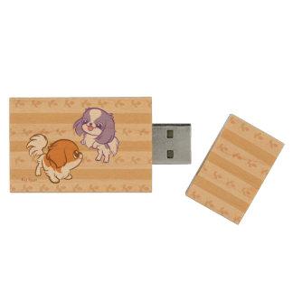 Frolicking Kawaii Puppies Japanese Chin Wood USB 2.0 Flash Drive