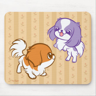 Frolicking Kawaii Puppies Japanese Chin Mouse Pad