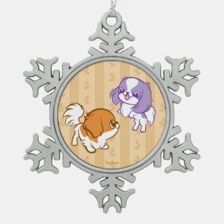 Frolicking Kawaii Puppies Japanese Chin Pewter Snowflake Decoration