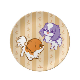 Frolicking Kawaii Puppies Japanese Chin Porcelain Plate