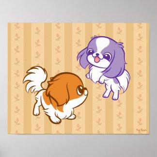 Frolicking Kawaii Puppies Japanese Chin Print