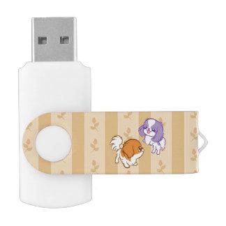 Frolicking Kawaii Puppies Japanese Chin Swivel USB 2.0 Flash Drive