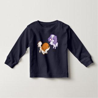 Frolicking Kawaii Puppies Japanese Chin Toddler T-Shirt