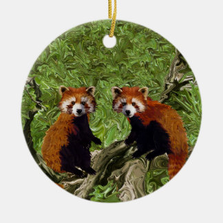 Frolicking Red Pandas Christmas Ornament
