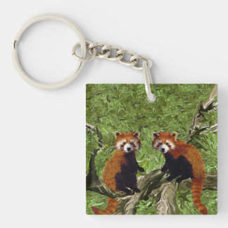 Frolicking Red Pandas Double-Sided Square Acrylic Key Ring