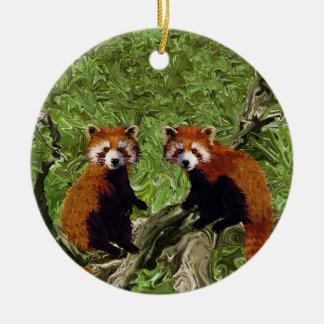 Frolicking Red Pandas Round Ceramic Decoration