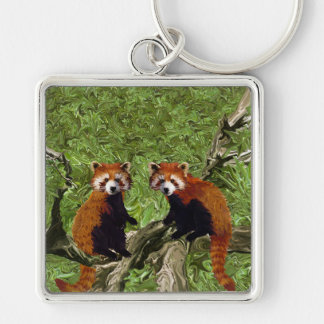 Frolicking Red Pandas Silver-Colored Square Key Ring