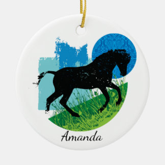 Frolicking Wild Horse Ornament
