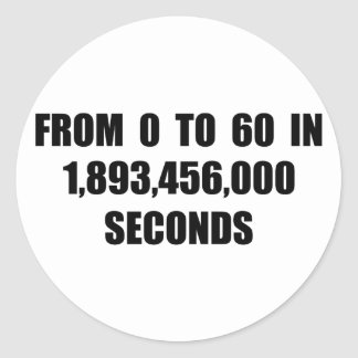 From  0 to 60 in seconds round sticker