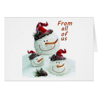 FROM ALL OF US ACROSS MILES AT CHRISTMAS SNOWMEN GREETING CARD