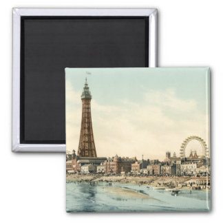 From Central Pier, Blackpool, England Square Magnet