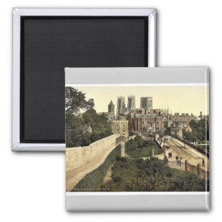 From city walls, York, England classic Photochrom Square Magnet
