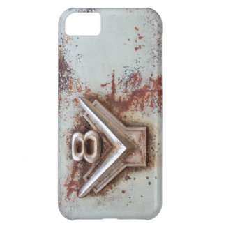 From classic car: Rusty old v8 badge in chrome iPhone 5C Case