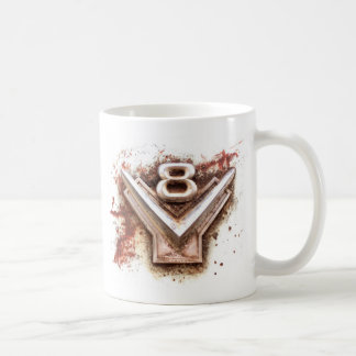 From classic car Rusty old v8 badge in chrome Mugs