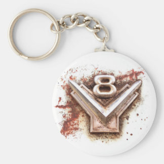 From classic car: Rusty old v8 emblem in chrome Basic Round Button Key Ring