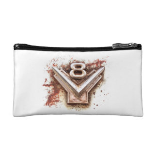 From classic car: Rusty old v8 emblem in chrome Cosmetics Bags