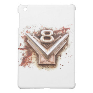 From classic car: Rusty old v8 emblem in chrome iPad Mini Cover