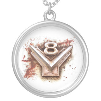 From classic car: Rusty old v8 emblem in chrome Silver Plated Necklace
