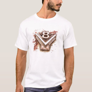 From classic car: Rusty old v8 emblem in chrome T-Shirt