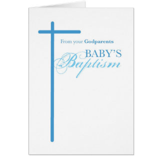 From Godparents on Baptism, Boy Blue Cross Card