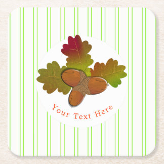 From Little Acorns Rustic Autumn Fall Square Paper Coaster