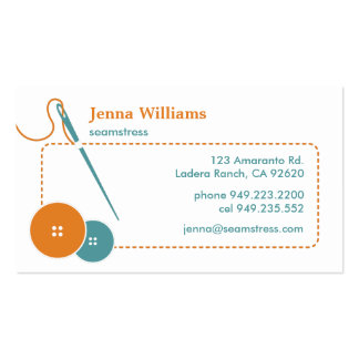 From Lucy: ARTISAN & SEAMSTRESS | orange & blue Double-Sided Standard Business Cards (Pack Of 100)